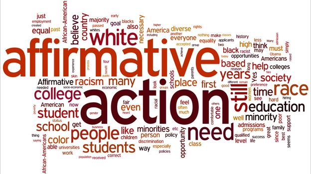 """A word cloud of listener responses to the question, """"Is there still a place for affirmative action in 2012, and why?"""" (NPR via Wordle)"""