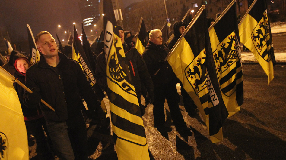 Neo-Nazis and their sympathizers march on Feb. 13 to commemorate the World War II firebombing of Dresden, Germany, by Allied planes. Concerns about far-right extremism have grown in Germany after the discovery last year of an extreme far-right cell believed to have carried out a decade-long crime spree, including the murder of 10 people, mainly Turkish shopkeepers, bank robberies and bombs. (Getty Images)