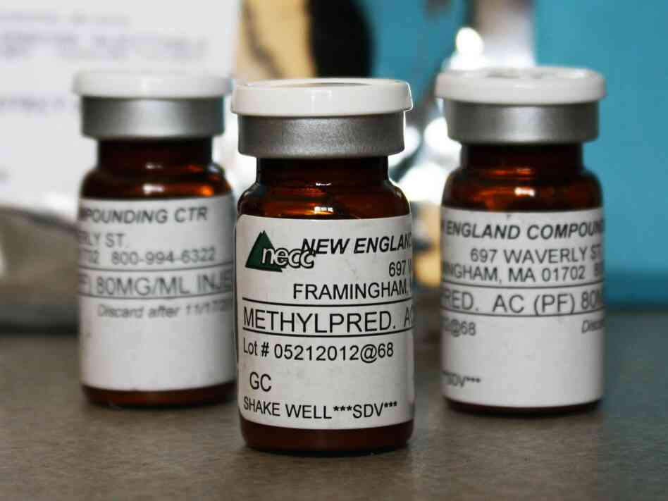 Vials of an injectable steroid product made by the New England Compounding Center, which was implicated in the October fungal meningitis outbreak.