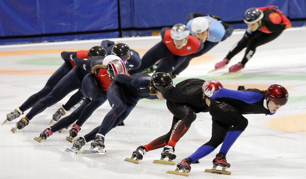 Speedskaters practice for the U.S. Single Distance Short Track Speedskating Championships, in Kearns, Utah, last month. Coach Jae Su Chun and assistant Jun Hyung Yao have resigned following allegations of abuse.