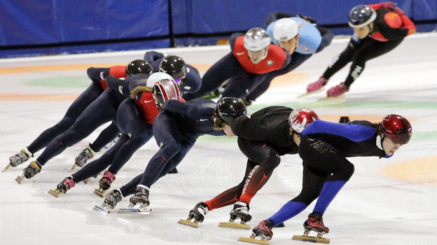 Speedskaters practice for the U.S. Single Distance Short Track Speedskating Championships, in Kearns, Utah, last month. Coach Jae Su Chun and assistant Jun Hyung Yao have resigned following allegations of abuse. (AP)