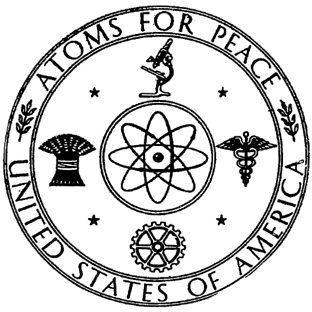 Atoms For Peace symbol used by the United States Atomic Energy Commission on a document cover page in 1955.