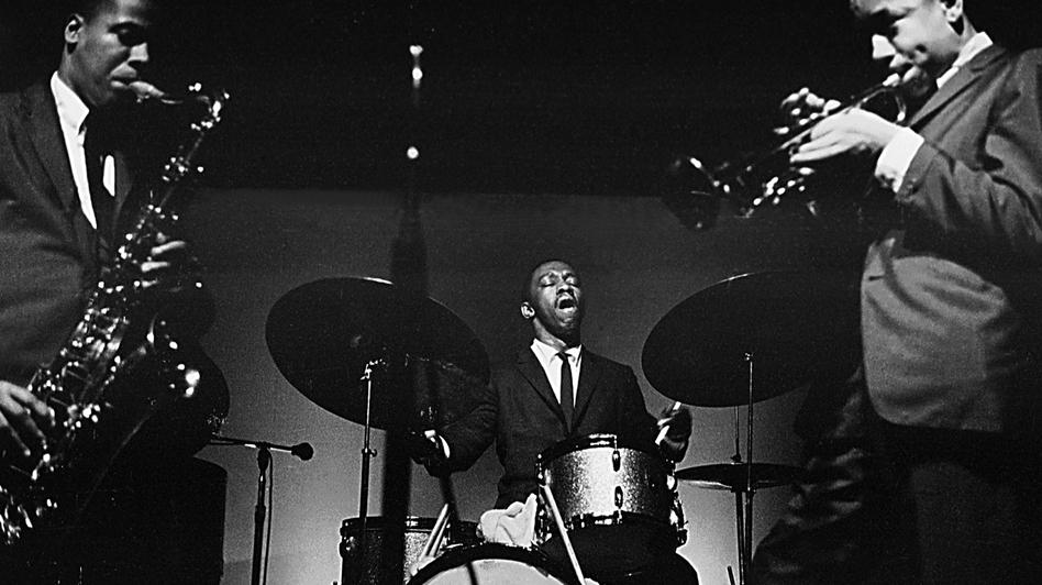 The band led by drummer Art Blakey (center) groomed more than 150 alumni members, including saxophonist Wayne Shorter and trumpeter Lee Morgan. (Getty Images)