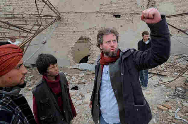 American director Sam French on the set of his short film, Buzkashi Boys, which was filmed in Afghanistan.