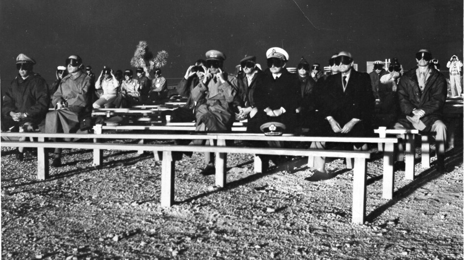 NATO observers attend the Boltzmann Event detonation on May 28, 1957, at Nevada Test Site. The detonation was part of Operation Plumbbob. (U.S. Department of Energy)
