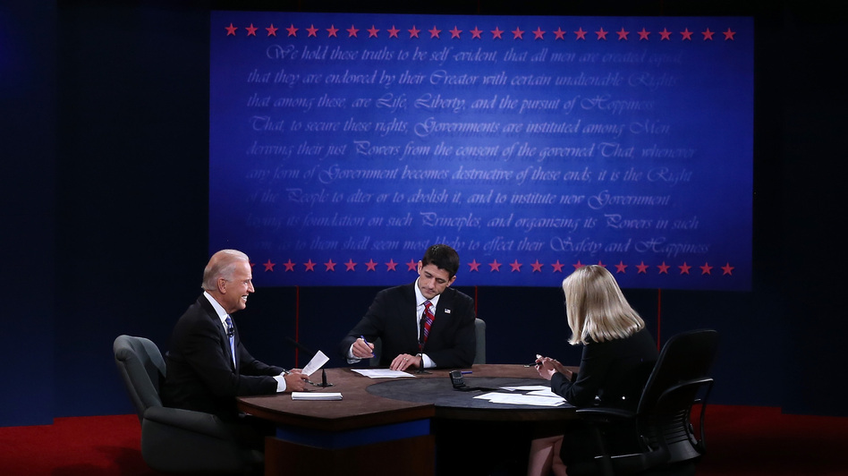 Vice President Joe Biden and Rep. Paul Ryan, R-Wis., participate in the vice presidential debate, moderated by Martha Raddatz of ABC News, Thursday in Danville, Ky. (Getty Images)