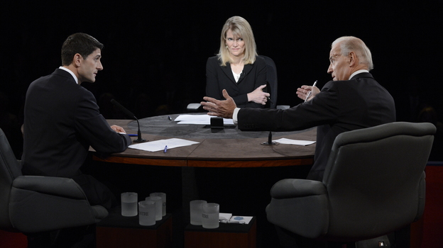 Vice President Joe Biden speaks as Republican Rep. Paul Ryan and moderator Martha Raddatz listen during the vice presidential debate at Centre College on Thursday in Danville, Ky. (Pool/Getty Images)