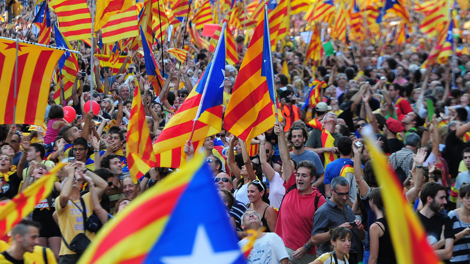 Supporters of independence for Catalonia demonstrate on Sept. 11 in Barcelona to mark the National Day of Catalonia, amid growing protests over Spain's financial crisis. (AFP/Getty Images)