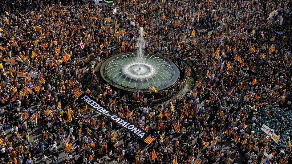 Supporters of independence for Catalonia gather in Barcelona on the Spanish region's national day, on Sept. 11. (AFP/Getty Images)