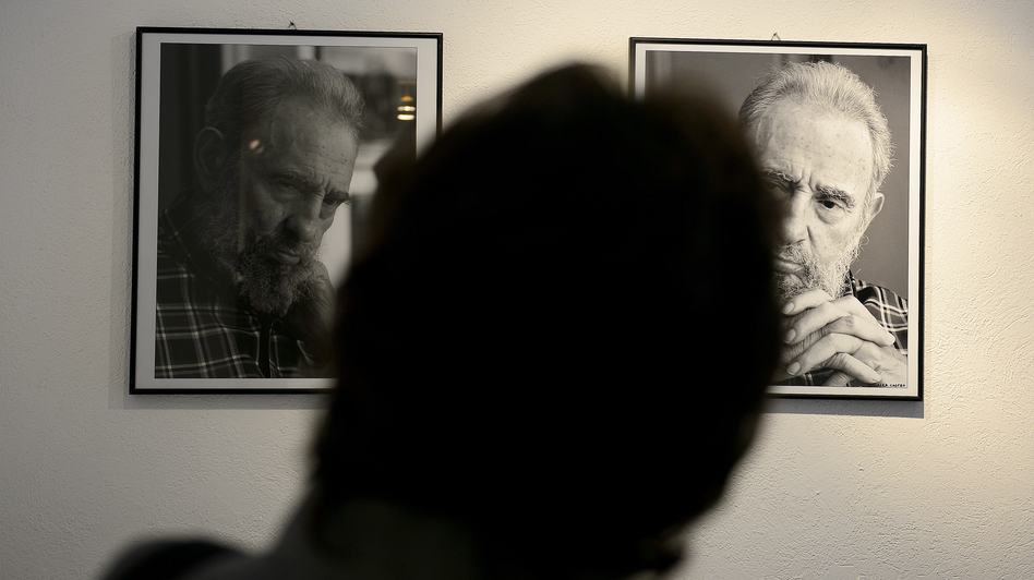 A visitor watches pictures taken by Cuban photographer and cinematographist Alex Castro, son of former Cuban president Fidel Castro. (AFP/Getty Images)