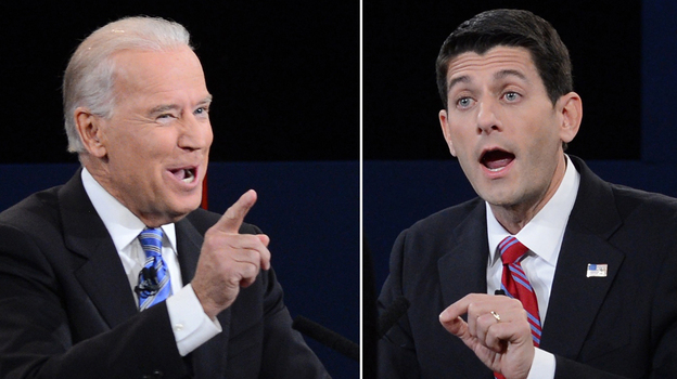 Vice President Biden and Republican Paul Ryan at Thursday night's debate. (AFP/Getty Images)