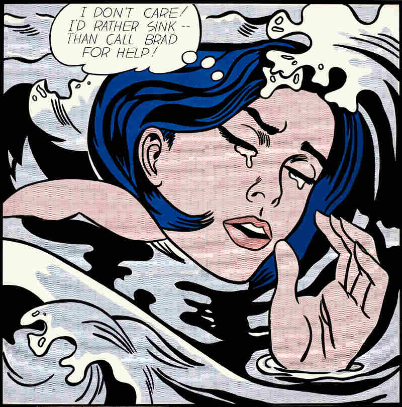 """""""I don't care! I'd rather sink — than call Brad for help!"""" laments Lichtenstein's 1963 Drowning Girl."""