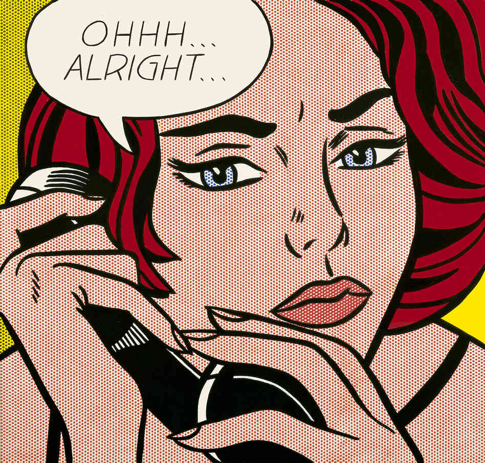 Roy Lichtenstein leaves it up to the viewers to decide what has just transpired in his 1964 painti