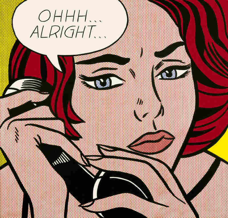 Roy Lichtenstein leaves it up to the viewers to decide what has just transpired in his 1964 painting of a tense phone call titled Ohhh ... Alright ...