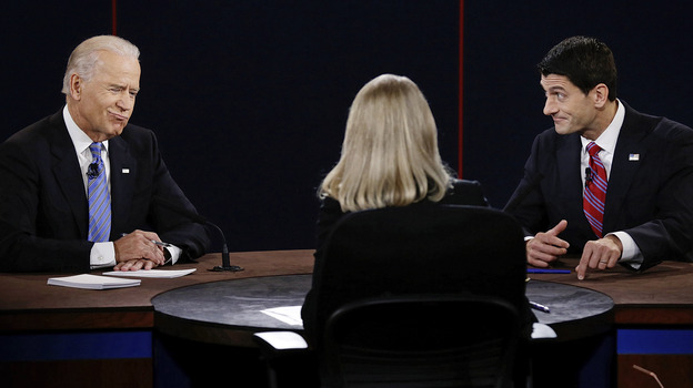 Vice President Biden and his Republican opponent, Rep. Paul Ryan of Wisconsin, participate in the vice presidential debate at Centre College in Danville, Ky., Thursday. (AP)