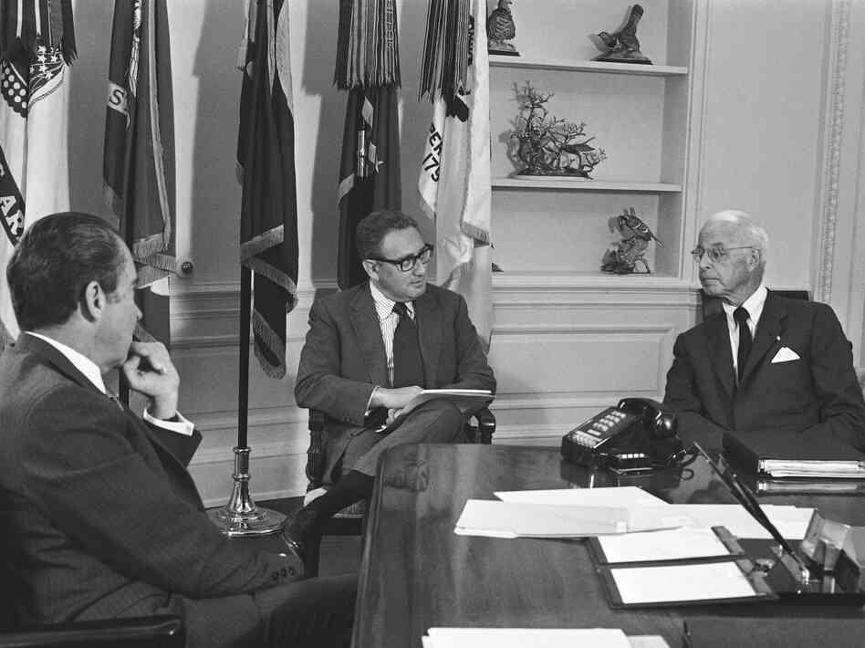 President Nixon meets with Ellsworth Bunker, U.S. ambassador to South Vietnam, and National Security Adviser Henry Kissinger at the White House on June 16, 1971. Lavelle would be mentioned in their recorded conversations a year later.