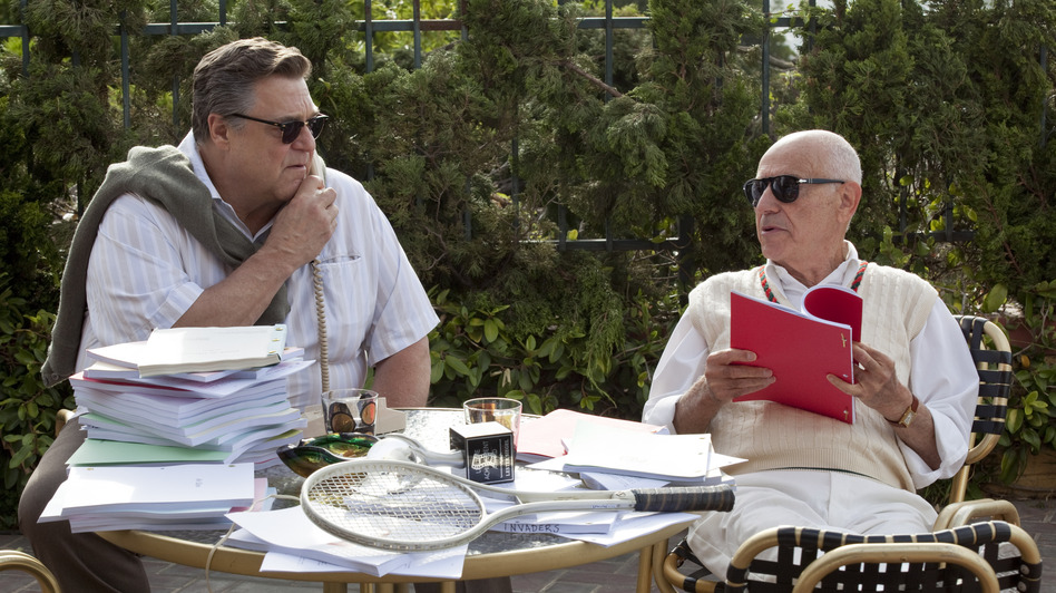 Hollywood veterans John Chambers (John Goodman) and Lester Siegel (Alan Arkin) agree to help the CIA stage a fake movie production. (Warner Bros. Pictures)