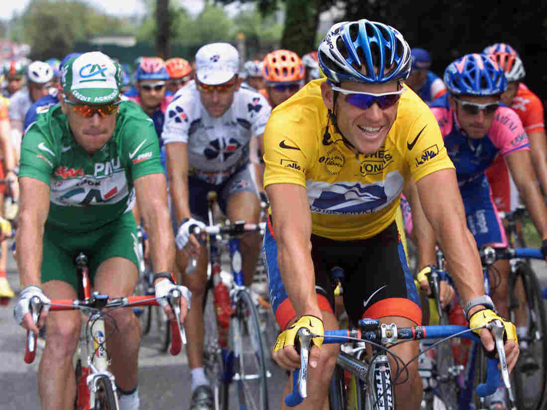 Lance Armstrong, in the leader's yellow jersey, during the 2001 Tour de France.