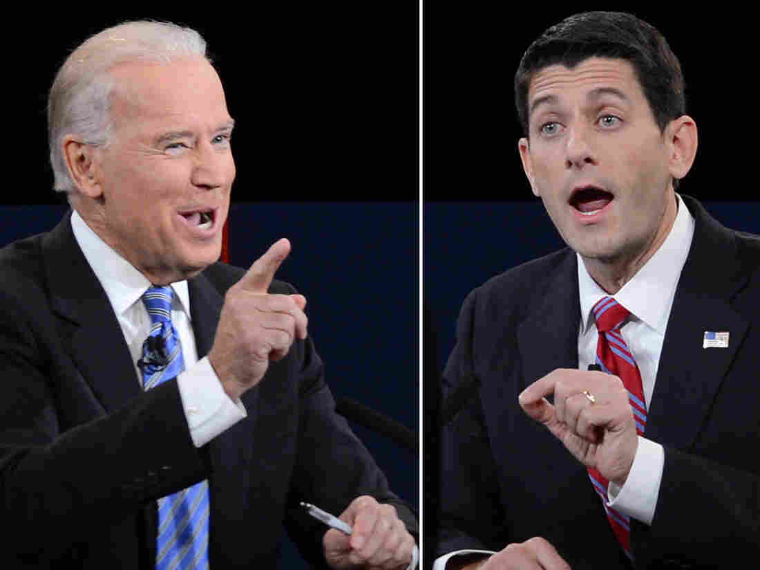 Vice President Biden (left) and Republican vice presidential candidate Paul Ryan during Thursday's debate.