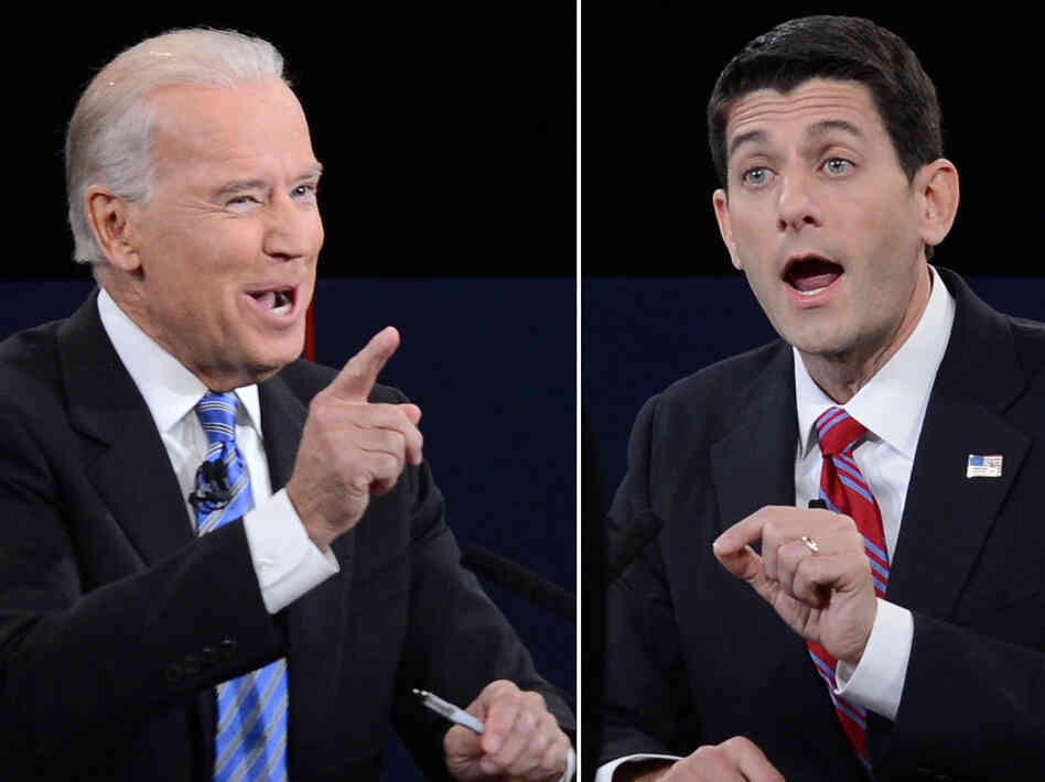 Vice President Biden (left) and Republican vice presidential candidate Paul Ryan durin