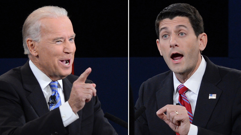 Vice President Biden (left) and Republican vice presidential candidate Paul Ryan during Thursday's debate. (AFP/Getty Images)
