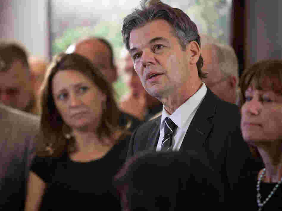 Surrounded by his family and supporters, Democrat Jim Graves announces his candidacy for Congress on April 10 in St. Cloud, Minn.