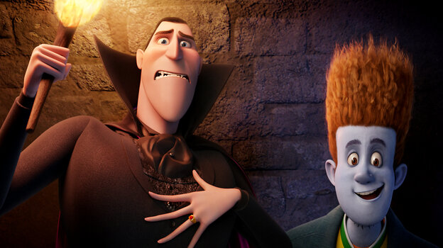 Dracula (voiced by Adam Sandler) and Johnnystein (voiced by Andy Samberg) in Hotel Transylvania.