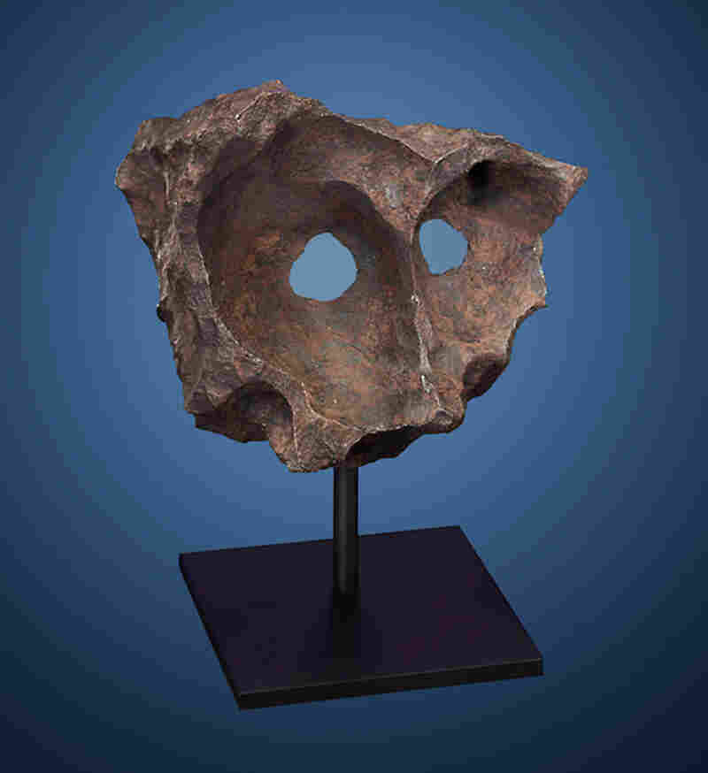 Meteor Masquerade: Another fragment of the Gibeon meteorite, which crashed into Namibia in prehistoric times. Namibian tribesmen discovered this specimen, known as the Gibeon Mask, in 1992. Estimated price: $140,000-$180,000.