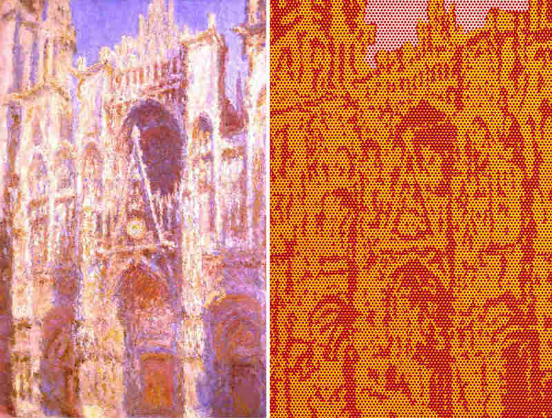 About 80 years after Claude Monet painted the Rouen Cathedral (left), Roy Lichtenstein did his own take on the iconic landmark (right.) Click here to learn more about Monet's Cathedral series.