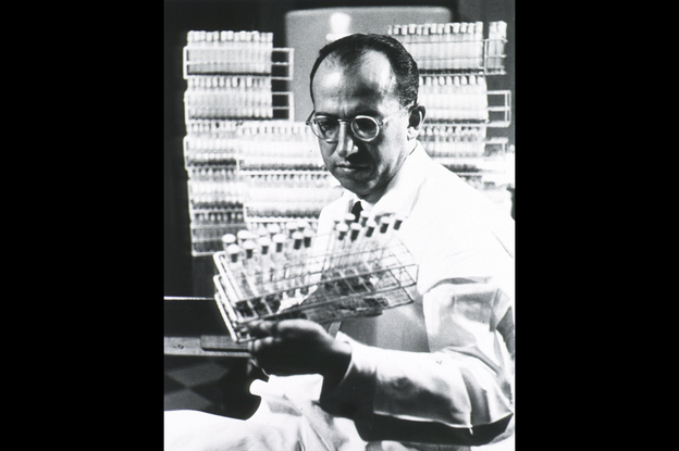 On April 12, 1955, Dr. Jonas Salk and his research team at the University of Pittsburgh released the first successful vaccine for polio. In 1979, the U.S. reported its last case of the paralyzing virus. (Courtesy of Images from the History of Medicine (NLM).)