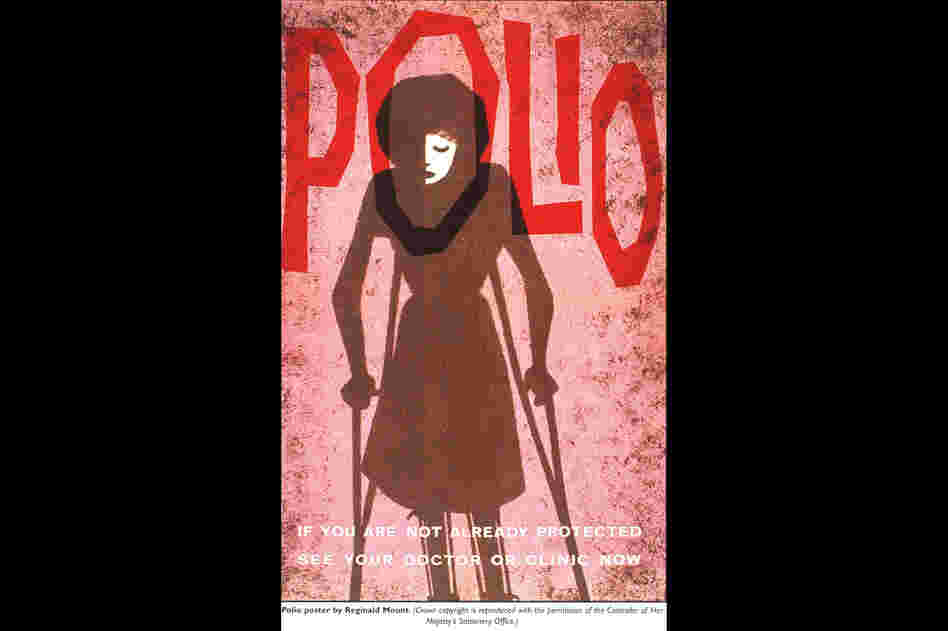 A British postcard promotes the importance of vaccinating against polio.