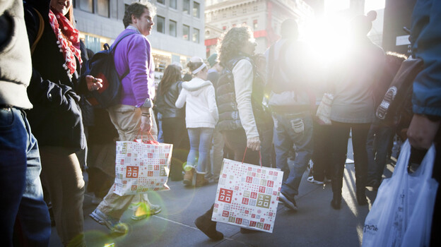"""""""Black Friday"""" 2011 in Manhattan: Retailers hope to see shoppers out again in force this holiday season. If confidence stays high, they may get their wish. (Getty Images)"""