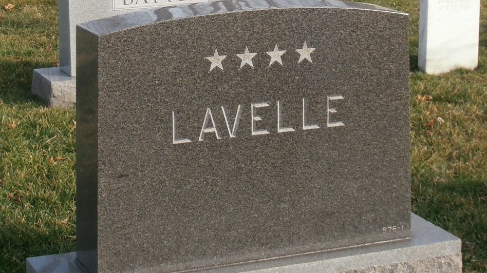 Even though Lavelle was officially retired in disgrace as a two-star general, his widow ordered a gravestone displaying four. No one has ever protested. (Paul Hays)