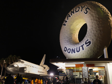 The giant doughnut in Inglewood dwarfs even the space shuttle Endeavour.