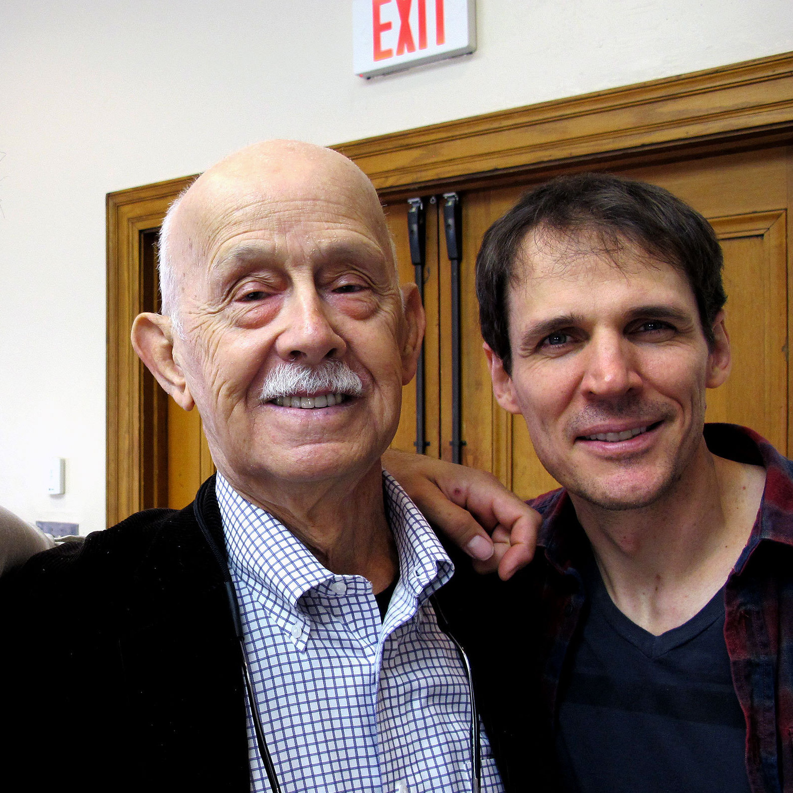 The Beat Generation cast members Tony Crane (left) and Joel Collins (right) with literary executor of the Kerouac estate John Sampas.
