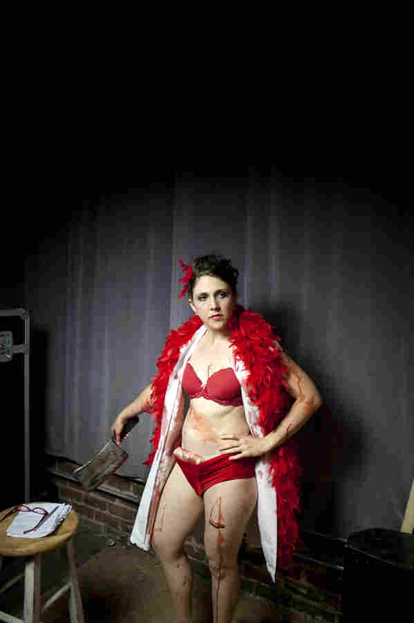 """Jayme Dyer, aka """"Ze Dirty Butcher,"""" waits backstage before her match."""