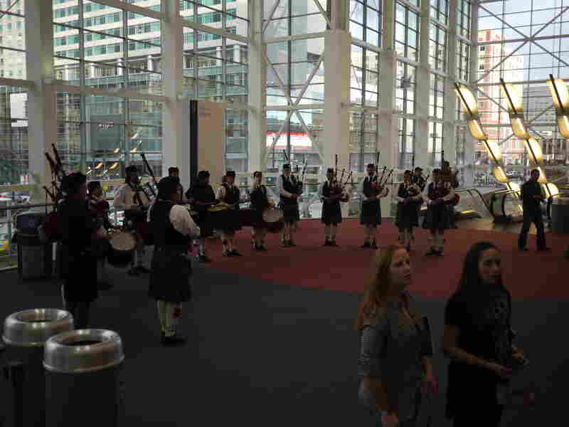 Before heading into the massive beer hall, festival attendees are greeted by a corps of bagpipes and drums.