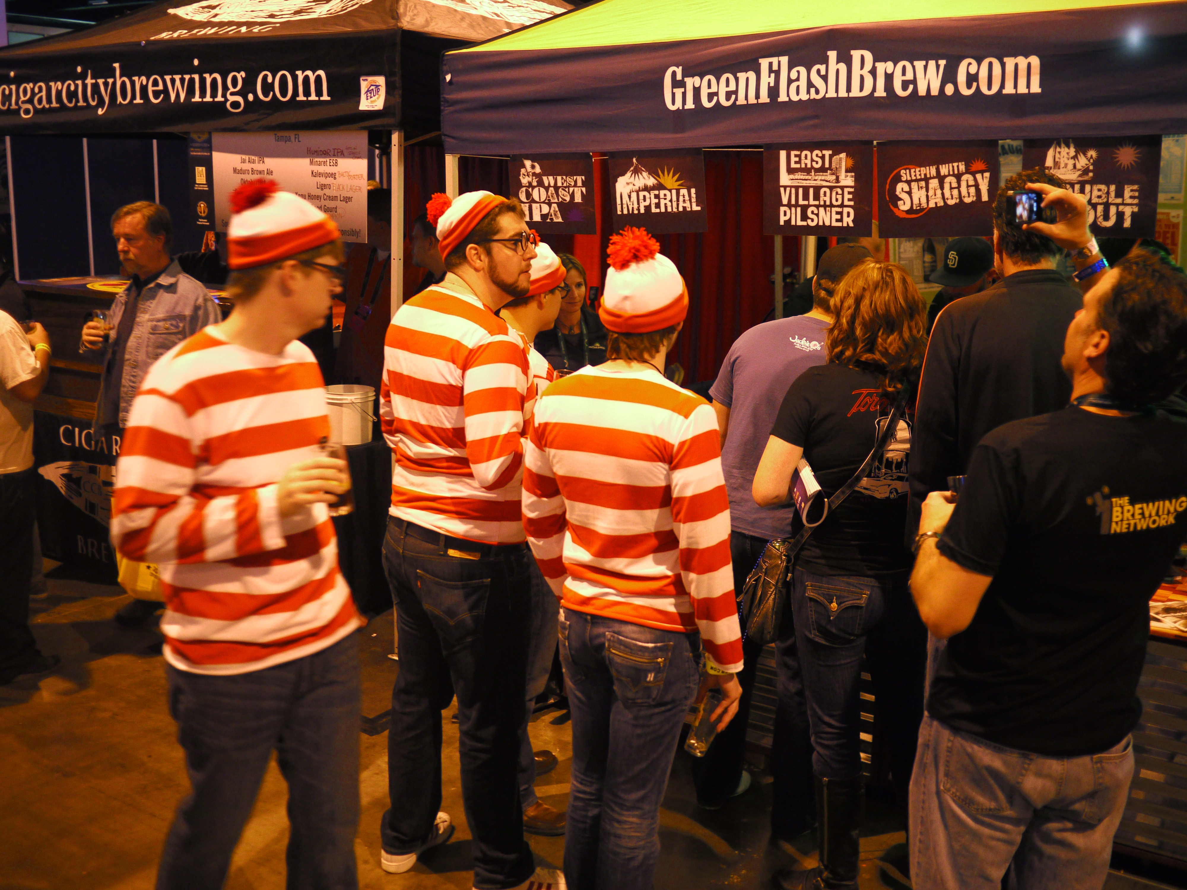 A group of Waldos at the Green Flash Brewing Company's booth.