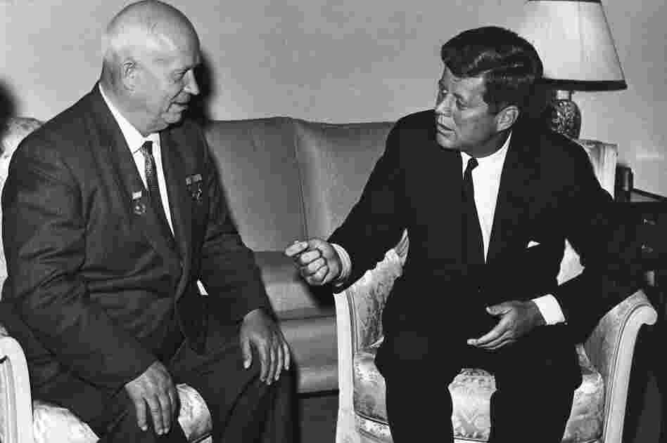 Kennedy meets with Soviet Chairman Nikita Khrushchev at the U.S. Embassy residence in Vienna, Austria, June 3, 1961.