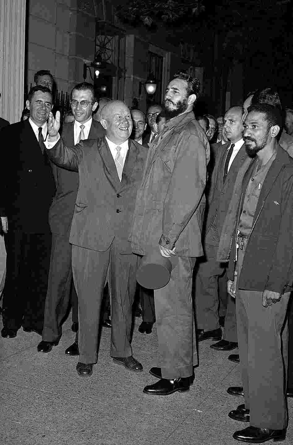Khrushchev welcomes Cuban Prime Minister Fidel Castro as Castro arrives for a dinner at the headquarters of the Soviet UN delegation in New York, Sept. 23, 1960.