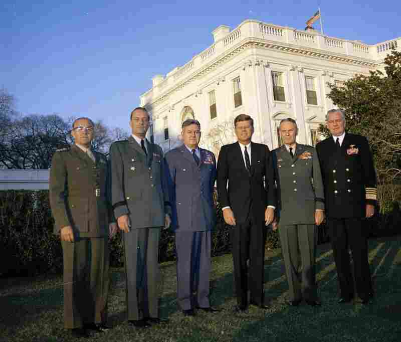 Kennedy with the Joint Chiefs of Staff on Jan. 15, 1962.