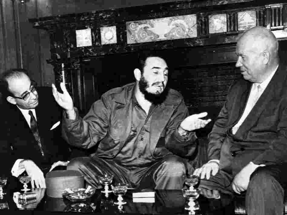In this 1960 photo, Cuban leader Fidel Castro talks with Soviet Premier Nikita Khrushchev. The world stood at the brink of Armageddon for 13 days during the Cuban Missile Crisis.
