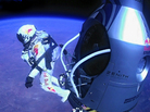 Felix Baumgartner of Austria as he jumps out of the capsule during the final manned flight for Red Bull Stratos on Sunday.