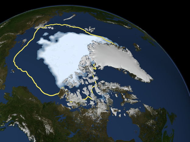 This Sept. 16 image released by NASA shows the amount of summer sea ice in the Arctic, at center in white, and the 1979 to 2000 average extent for the day shown, with the yellow line. Scientists say sea ice in the Arctic shrank to an all-time low of 1.32 million square miles on Sept. 16, smashing old records for the critical climate indicator.