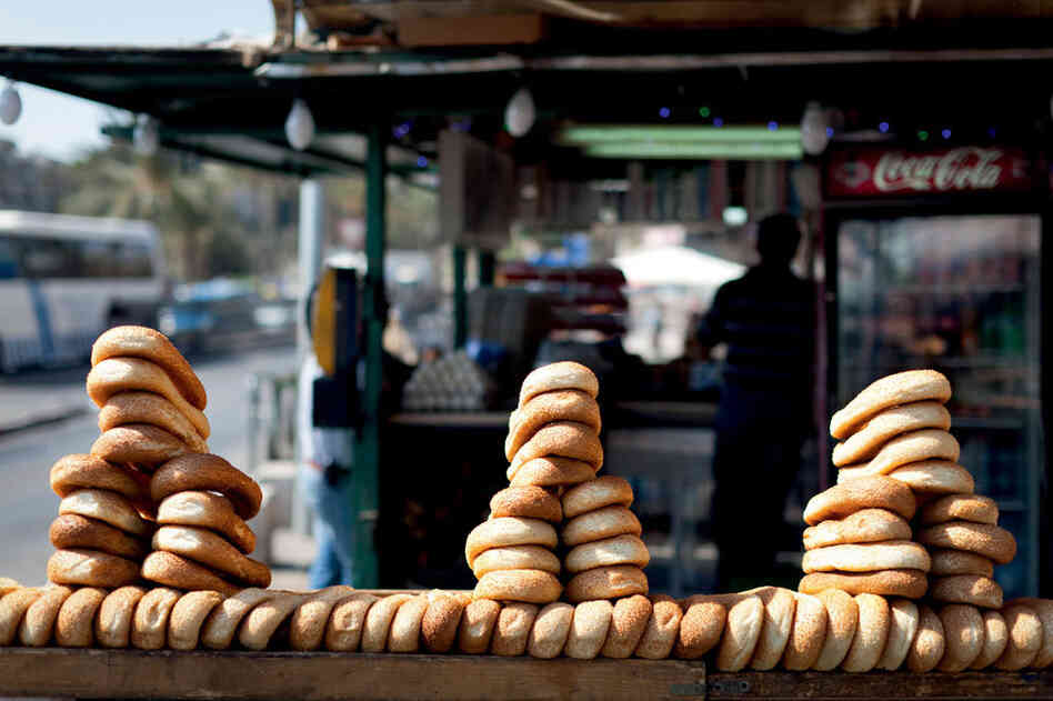 Bagels on display in a Jerusalem market.
