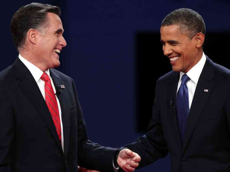 Republican presidential candidate Mitt Romney and President Barack Obama after the Presidential Debate on Oct. 3, 2012 in Denver, Colo.