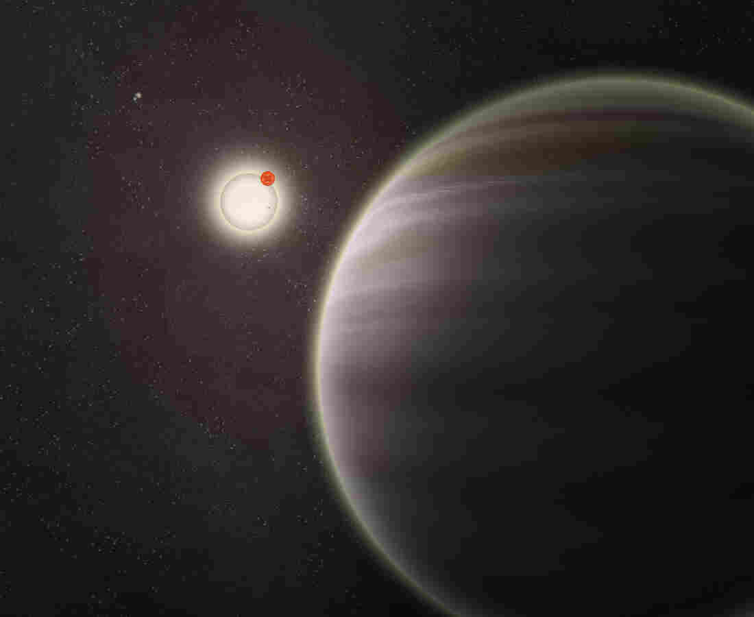 An artist's illustration of PH1, a planet discovered by volunteers from the Planet Hunters citizen science project. PH1, shown in the foreground, is a circumbinary planet and orbits two suns.