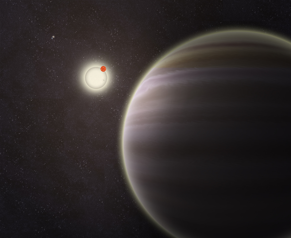 An artist's illustration of PH1, a planet discovered by volunteers from the Planet Hunters citizen science project. PH1, shown in the foreground, is a circumbinary planet and orbits two suns. (Haven Giguere/Yale)