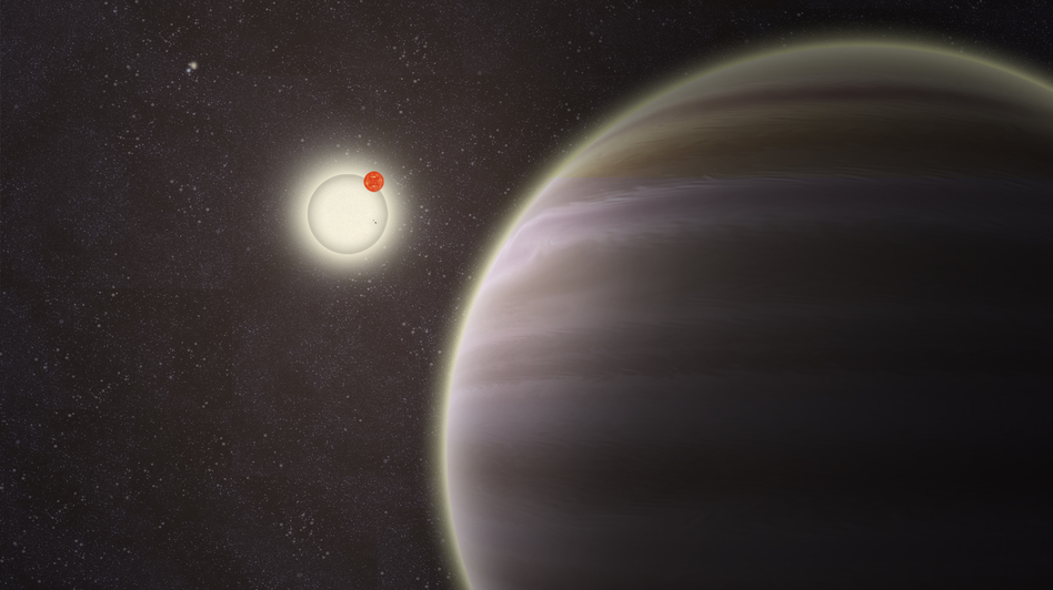 An artist's illustration of PH1, a planet discovered by volunteers from the Planet Hunters citizen science project. PH1, shown in the foreground, is a circumbinary planet and orbits two suns. (Yale)
