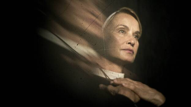 Jessica Lange plays Sister Jude, a stern nun running an insane asylum, in the second season of <em>American Horror Story</em>.